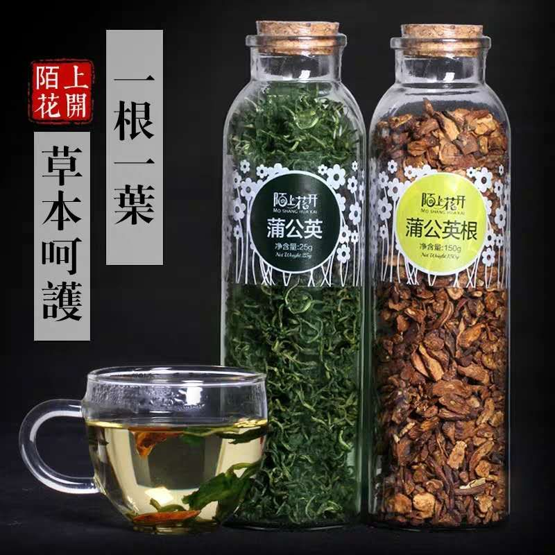 陌上花开纯蒲公英茶叶蒲公英根茶组合长白山天然蒲公英茶带根干的
